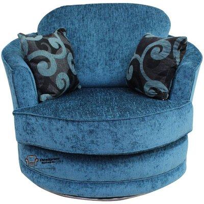 Cuddler Swivel Chair | Snuggle Swivel Armchair Carlton Teal Fabric - DESIGNER SOFAS 4 U