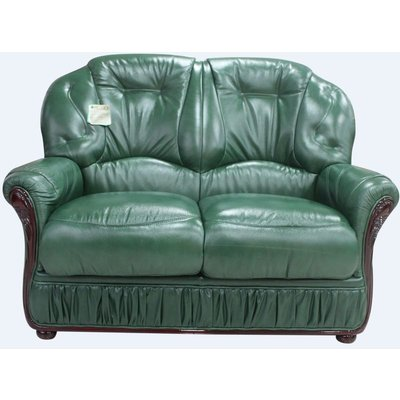 Designer Sofas 4 U - Debora Genuine Italian Leather 2 Seater Sofa Settee Green