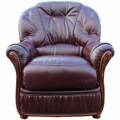 Debora Genuine Italian Sofa Leather Armchair Burgundy - DESIGNER SOFAS 4 U