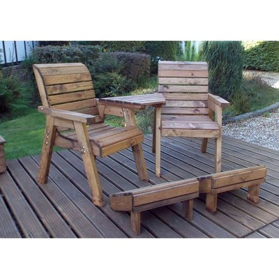 Deluxe Lounger Set (Angled) Quality Wooden Garden Furniture, fully assembled - CHARLES TAYLOR