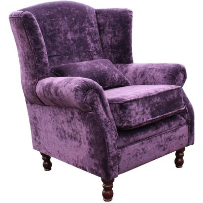 Denbigh Wing Chair Fireside High Back Armchair Elegance Aubergine Velvet - DESIGNER SOFAS 4 U
