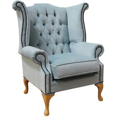 Designer Sofas 4 U - Duck Egg Fabric Wing Chair