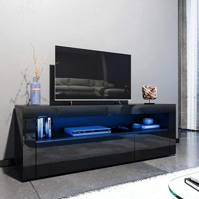1200mm Modern Black Gloss TV Unit Stand with LED Ambient Light for Living Room and Bedroom with Storage Furniture for 32 40 43 50 52 inch 4k TV