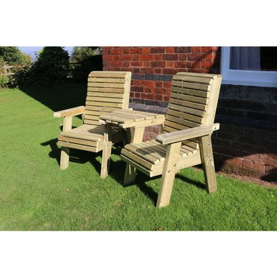 Churnet Valley - Ergonomic Companion Set, wooden garden love seat - Angled