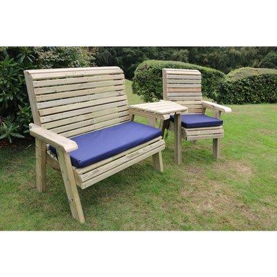 Ergonomic Trio Set, wooden garden bench and chair set - CHURNET VALLEY