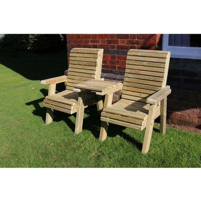 Ergonomical Companion Set, wooden garden love seat, chair set - Straight - CHURNET VALLEY