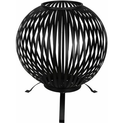 Fire Pit Ball Stripes Black Carbon Steel FF400 - Black - Esschert Design