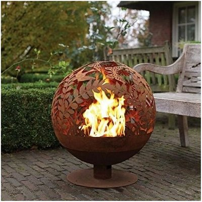 Fallen Fruits Oxidised Meadow Globe Sphere Fire Pit Basket Bowl Cast Iron