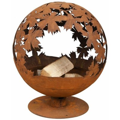 Fire Pit Laser Cut Leaves Rust FF293 - Esschert Design