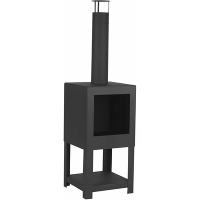 Esschert Design Outdoor Fireplace with Firewood Storage Black FF410