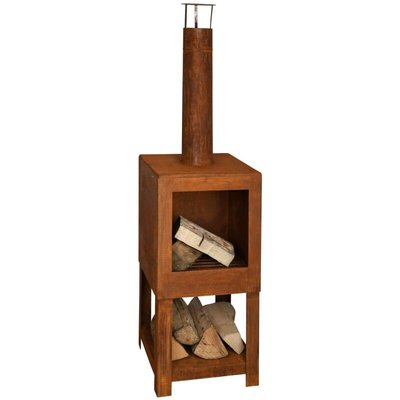 Outdoor Fireplace with Firewood Storage Rust FF298 - Esschert Design
