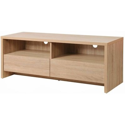 Modern TV Unit Stand 120cm Media Cabinet 2 Drawers + Shelf Oak Effect - TIMBER ART DESIGN UK