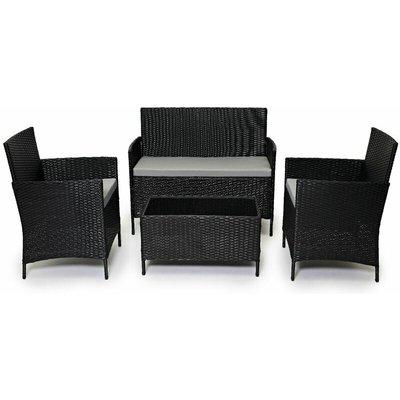 Outdoor Garden Rattan Furniture 4 Piece set Chairs Sofa Table Patio Conservatory - Black - Evre