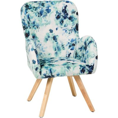 Beliani - Modern Accent Chair Wooden Legs Multicolour Upholstery Floral Pattern Bjarn