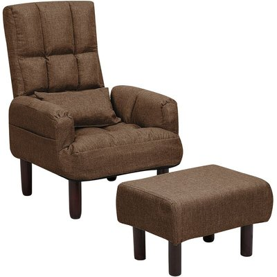 Beliani - Reclining Fabric Armchair and Ottoman Set Brown Upholstery Wooden Legs Oland
