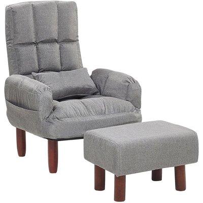 Beliani - Reclining Fabric Armchair and Ottoman Set Grey Upholstery Wooden Legs Oland