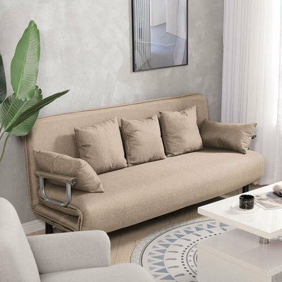 Fabric Sofa Bed Recliner Chair Double Sleeper Bed Couch Sofabed Khaki