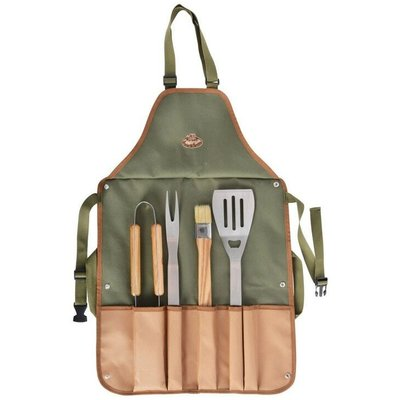 BBQ Apron With 4 Stainless Steel BBQ Tools - Fallen Fruits
