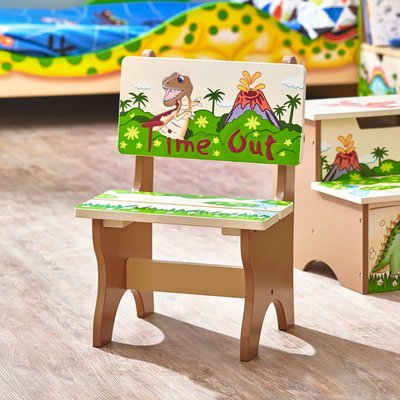 Childrens Dinosaur Kingdom Kids Wooden Time Out Chair TD-0078A - Fantasy Fields