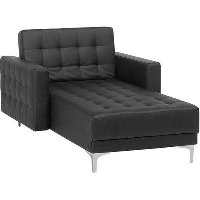 Faux Leather Chaise Lounge Black ABERDEEN - BELIANI