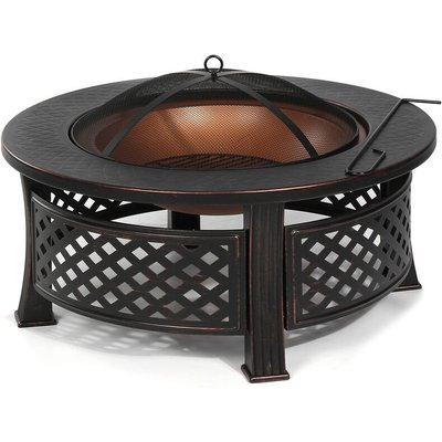 Fire Pit Patio BBQ Brazier Garden Fireplace Heater 81X46cm Round Shape