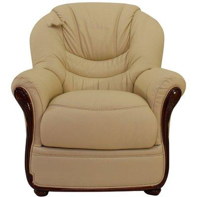 Florence Genuine Italian Sofa Armchair Cream Leather - DESIGNER SOFAS 4 U