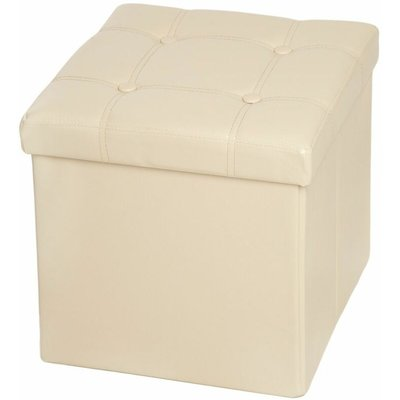 Tectake - Foldable ottoman made of synthetic leather with storage space - storage ottoman, shoe storage bench, hallway bench - beige