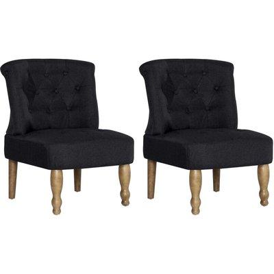 French Chairs 2 pcs Black Fabric - VIDAXL
