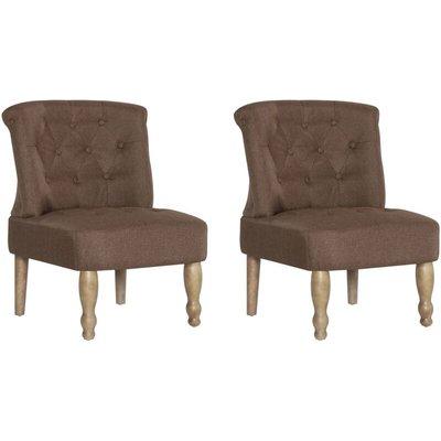 French Chairs 2 pcs Brown Fabric - VIDAXL