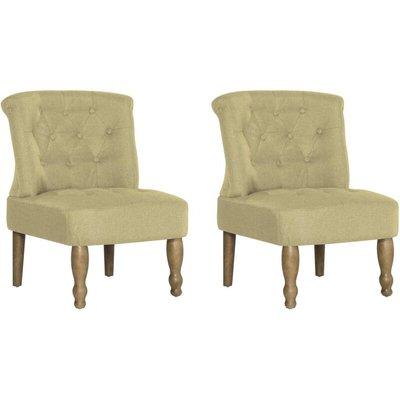 French Chairs 2 pcs Green Fabric - VIDAXL