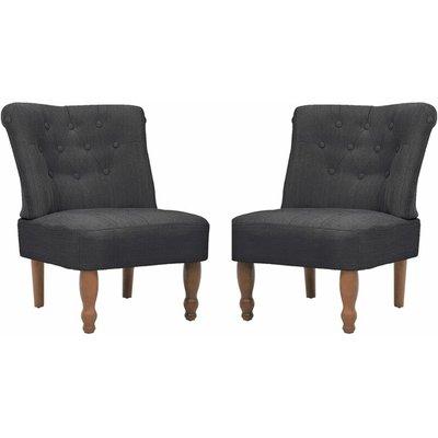 French Chairs 2 pcs Grey Fabric - VIDAXL