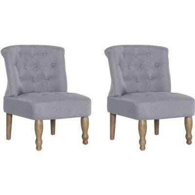 French Chairs 2 pcs Light Grey Fabric - VIDAXL