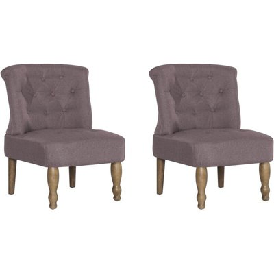 French Chairs 2 pcs Taupe Fabric - VIDAXL