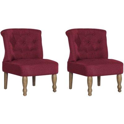 French Chairs 2 pcs Wine Red Fabric - VIDAXL