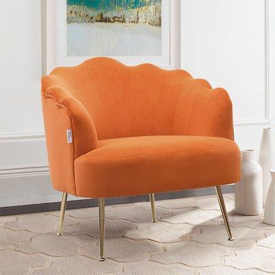 Frosted Velvet Shell Accent Chair, Orange