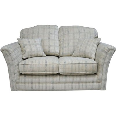 Galaxy 2 Seater Fabric Sofa Settee Upholstered In Brunswick Plaid Oyster
