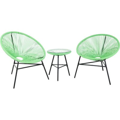 Beliani - Mid Century Modern Garden Bistro Set Table and Chairs 3 Piece Green Acapulco