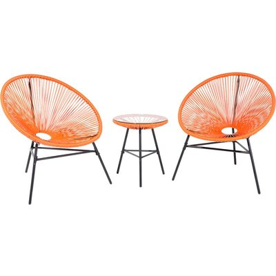 Beliani - Mid Century Modern Garden Bistro Set Table and Chairs 3 Piece Orange Acapulco