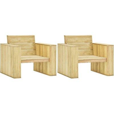 Garden Chairs 2 pcs 89x76x76 cm Impregnated Pinewood - VIDAXL