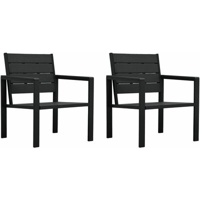 Garden Chairs 2 pcs Black HDPE Wood Look - Black - Vidaxl