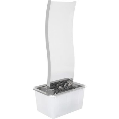 vidaXL Garden Fountain with Pump Stainless Steel 90 cm Curved - Silver