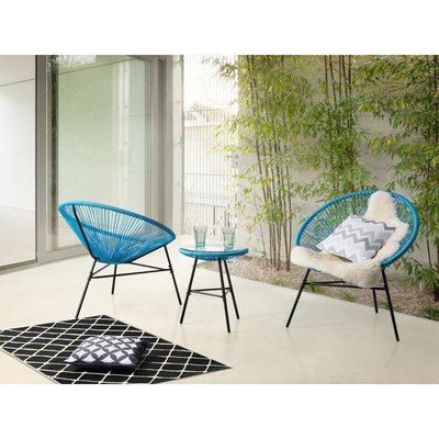 Beliani - Mid Century Modern Garden Bistro Set Table and Chairs 3 Piece Blue Acapulco