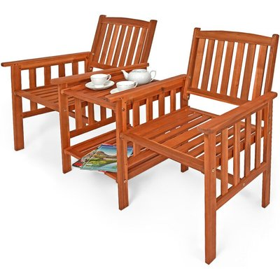 Garden Love Seat Acacia Wood Table and Chairs Companion Bench