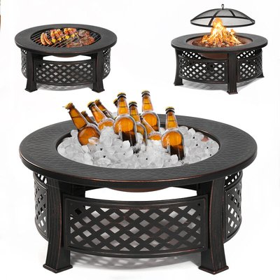 Garden Round Fire Pit Patio BBQ Brazier Fireplace Heater