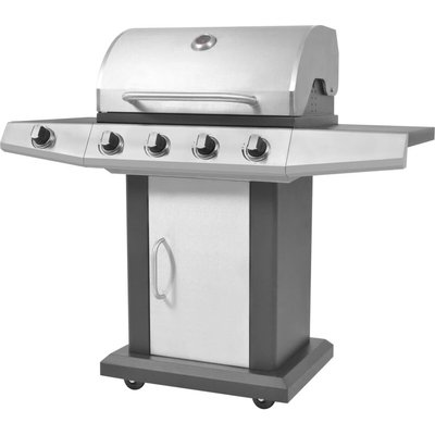 Gas Barbecue BBQ Grill 4 + 1 Cooking Zone Black and Silver - VIDAXL