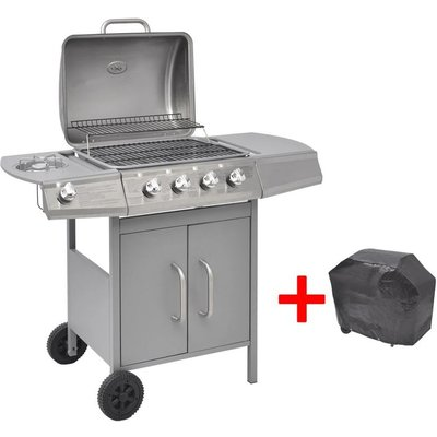 Gas Barbecue Grill 4+1 Cooking Zone Silver - VIDAXL