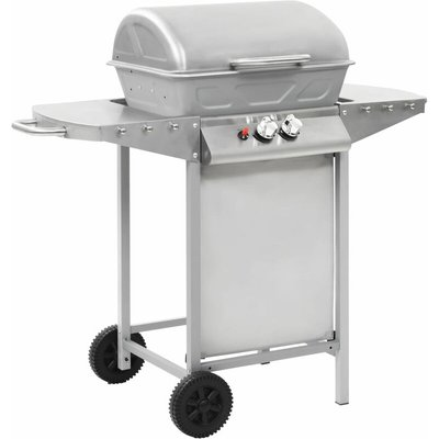 Gas BBQ Grill with 2 Cooking Zones Silver Stainless Steel - VIDAXL