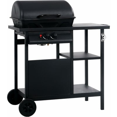 Gas BBQ Grill with 3-layer Side Table Black