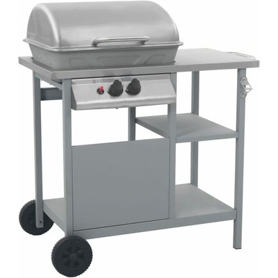 Gas BBQ Grill with 3-layer Side Table Black and Silver - VIDAXL