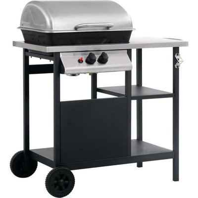 Gas BBQ Grill with 3-layer Side Table Black and Silver - ASUPERMALL